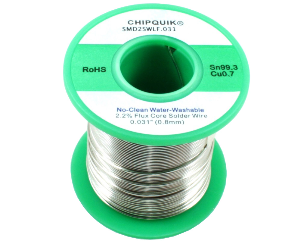 LF Solder Wire 99.3/0.7 Tin/Copper No-Clean Water-Washable .031 1/2lb 0
