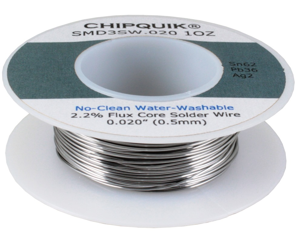 Solder Wire 62/36/2 Tin/Lead/Silver No-Clean Water-Washable .020 1oz 0