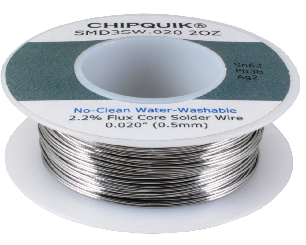Solder Wire 62/36/2 Tin/Lead/Silver No-Clean Water-Washable .020 2oz 0