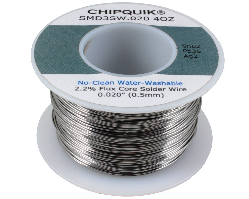 Solder Wire 62/36/2 Tin/Lead/Silver No-Clean Water-Washable .020 4oz 0