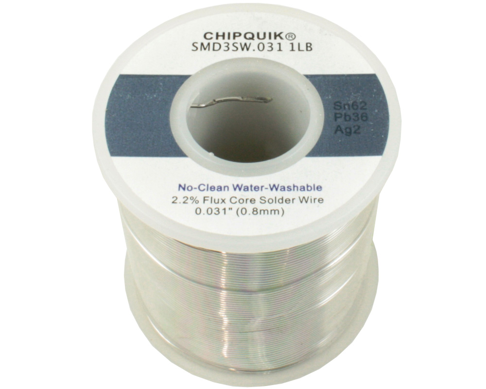 Solder Wire 62/36/2 Tin/Lead/Silver No-Clean Water-Washable .031 1lb 0