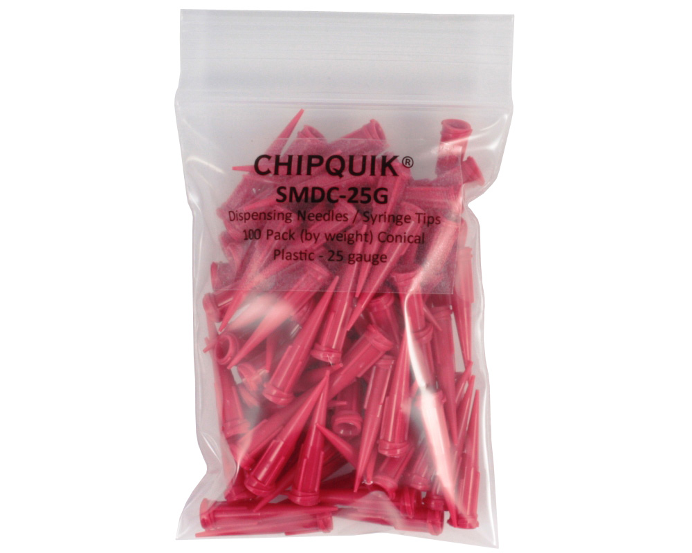 Dispensing Needles / Syringe Tips 100 Pack Conical Plastic - 25 gauge 0