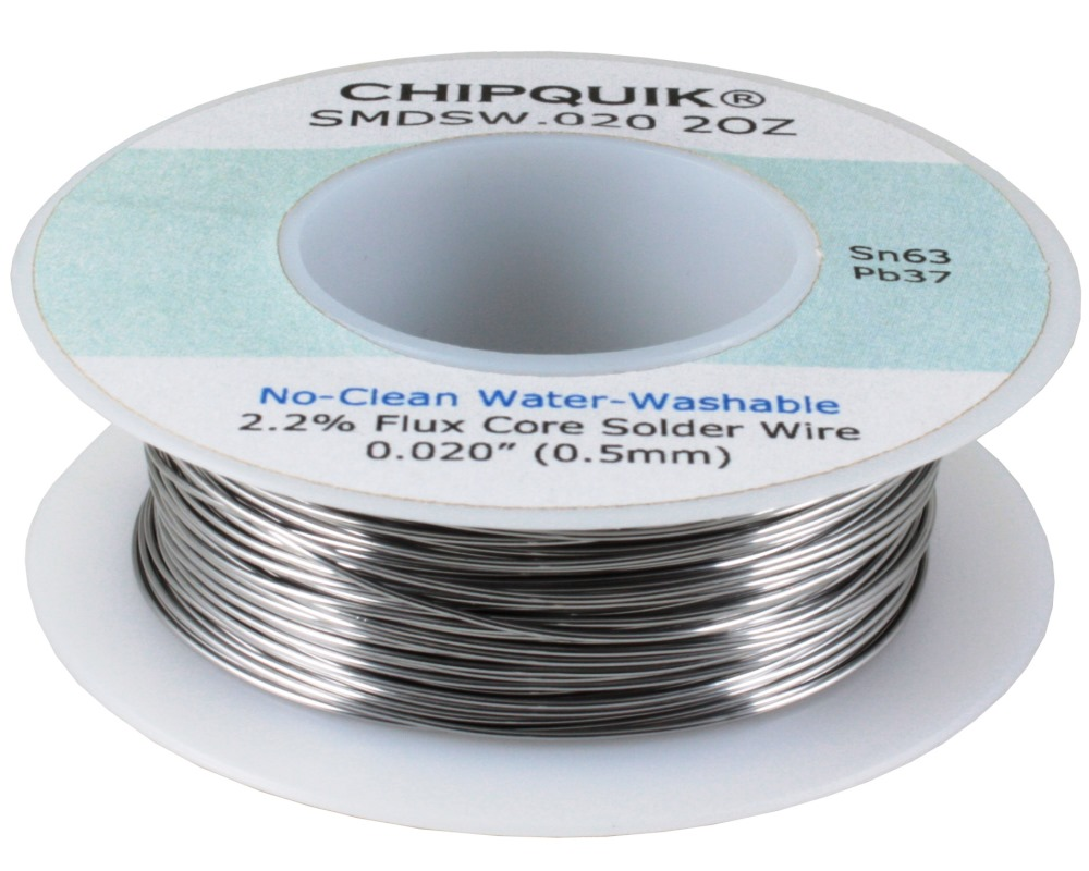 Solder Wire 63/37 Tin/Lead No-Clean Water-Washable .020 2oz 0
