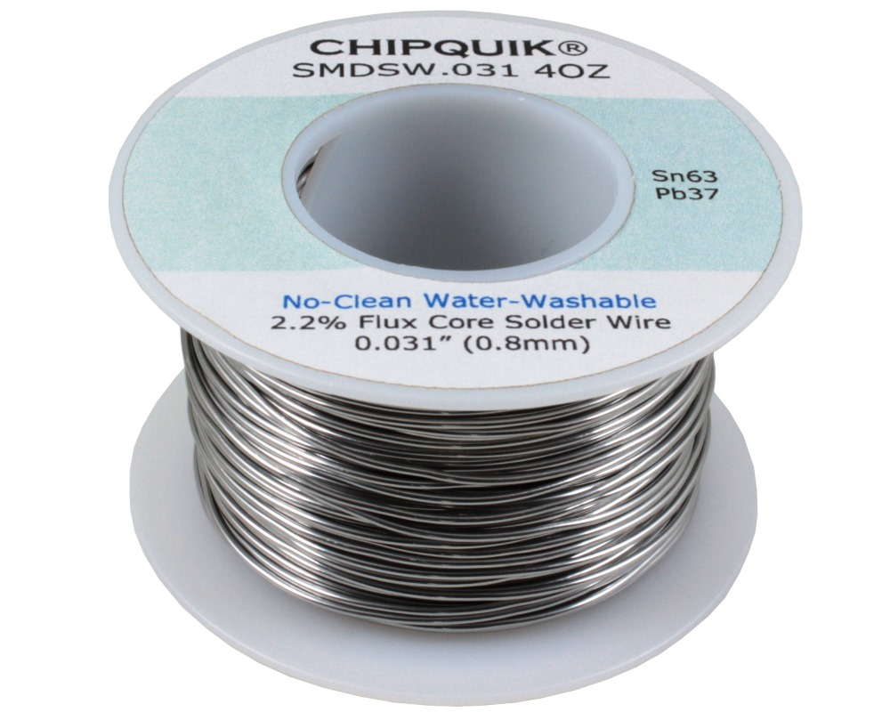 Solder Wire 63/37 Tin/Lead No-Clean Water-Washable .031 4oz 0