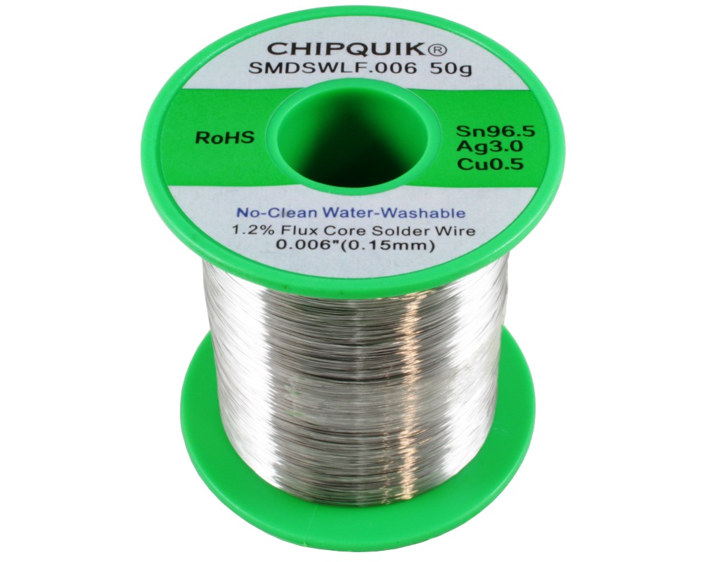 LF Solder Wire Sn96.5/Ag3/Cu0.5 No-Clean Water-Washable .006 50g ULTRA THIN 0