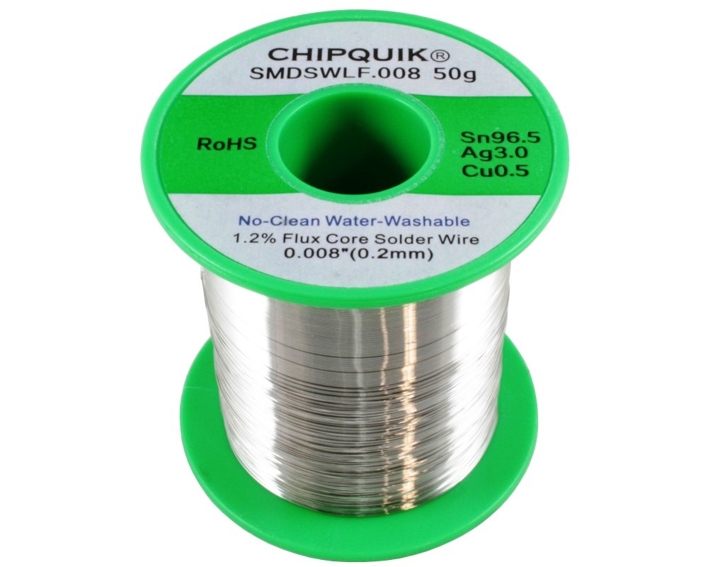 LF Solder Wire Sn96.5/Ag3/Cu0.5 No-Clean Water-Washable .008 50g ULTRA THIN 0