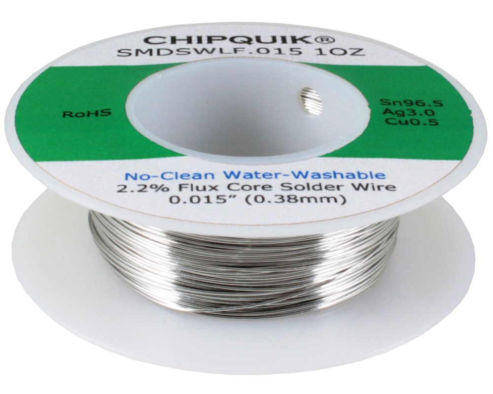 LF Solder Wire Sn96.5/Ag3/Cu0.5 No-Clean Water-Washable .015 1oz 0