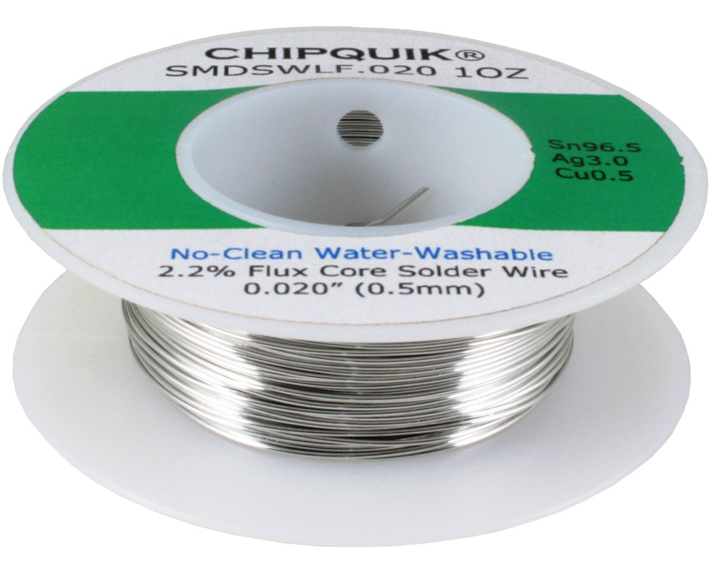 LF Solder Wire 96.5/3/0.5 Tin/Silver/Copper No-Clean Water-Washable .020 1oz 0