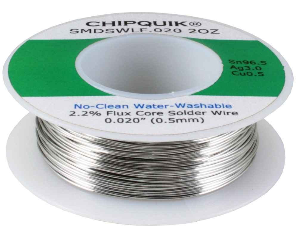 LF Solder Wire 96.5/3/0.5 Tin/Silver/Copper No-Clean Water-Washable .020 2oz 0
