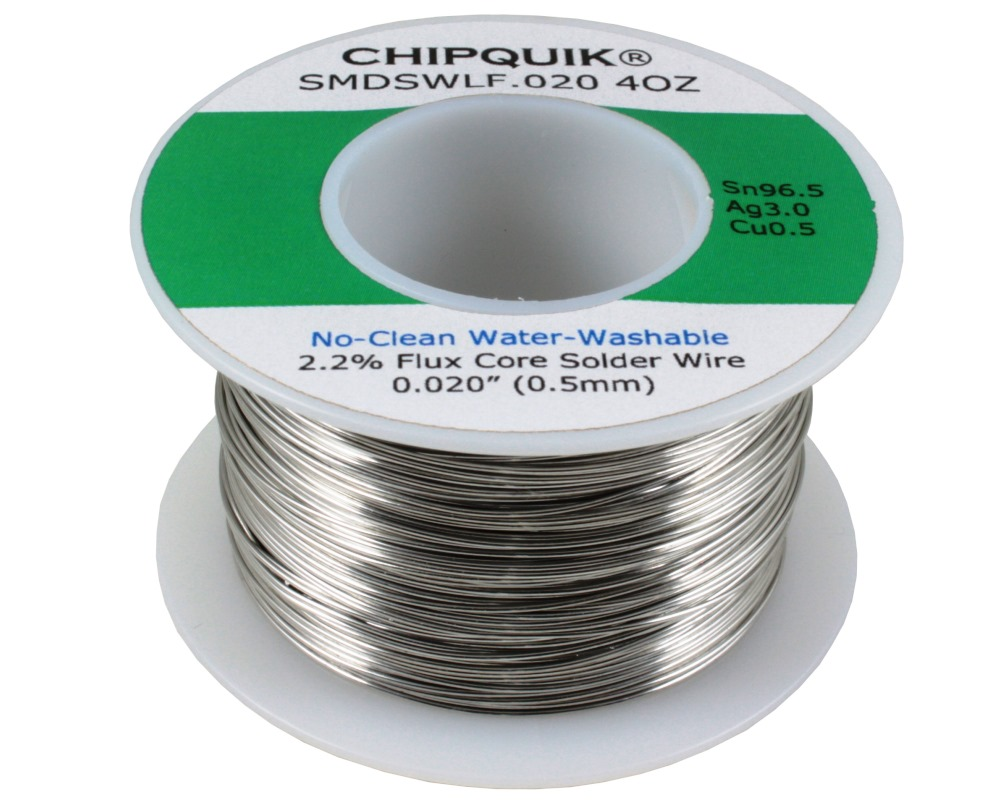 LF Solder Wire 96.5/3/0.5 Tin/Silver/Copper No-Clean Water-Washable .020 4oz 0