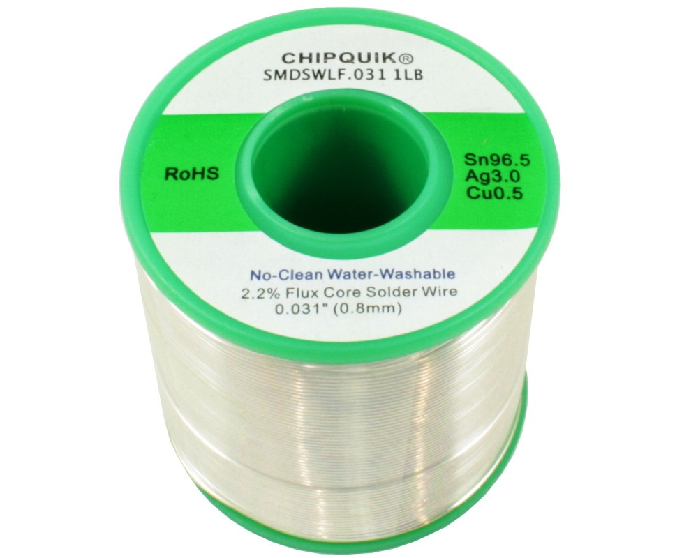 LF Solder Wire 96.5/3/0.5 Tin/Silver/Copper No-Clean Water-Washable .031 1lb 0