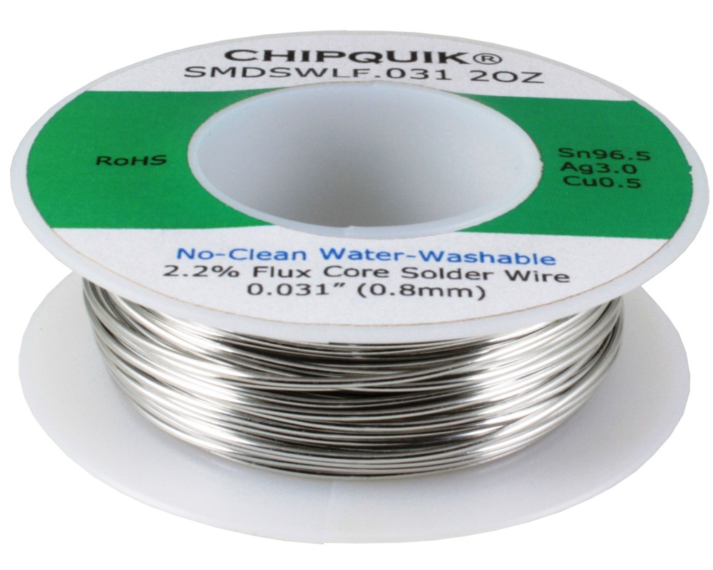LF Solder Wire 96.5/3/0.5 Tin/Silver/Copper No-Clean Water-Washable .031 2oz 0