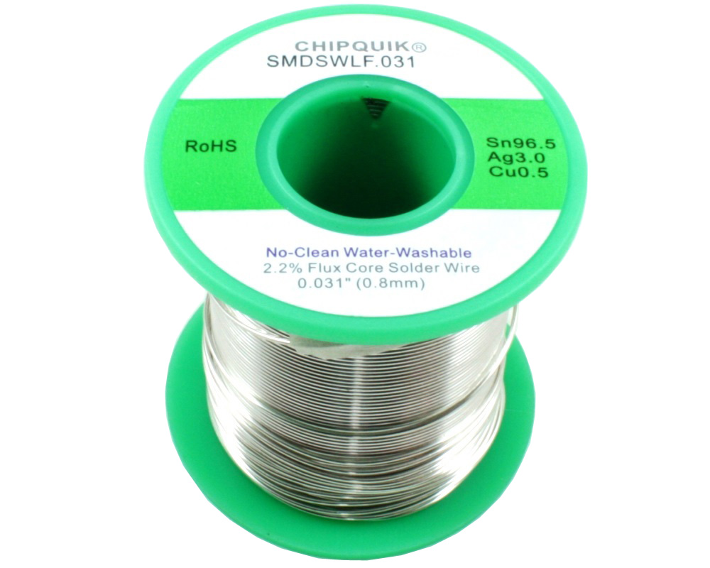 LF Solder Wire 96.5/3/0.5 Tin/Silver/Copper No-Clean Water-Washable .031 1/2lb 0